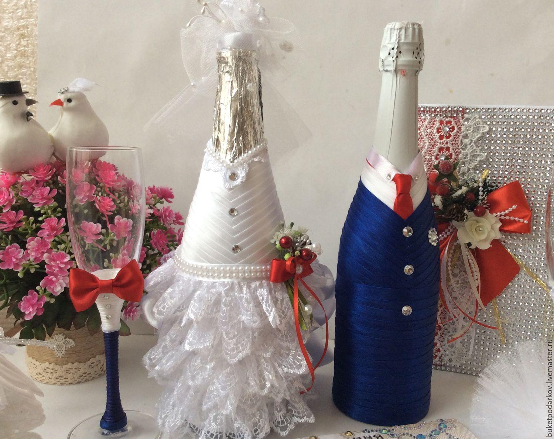 Свадебная бутылка с маками — своими руками