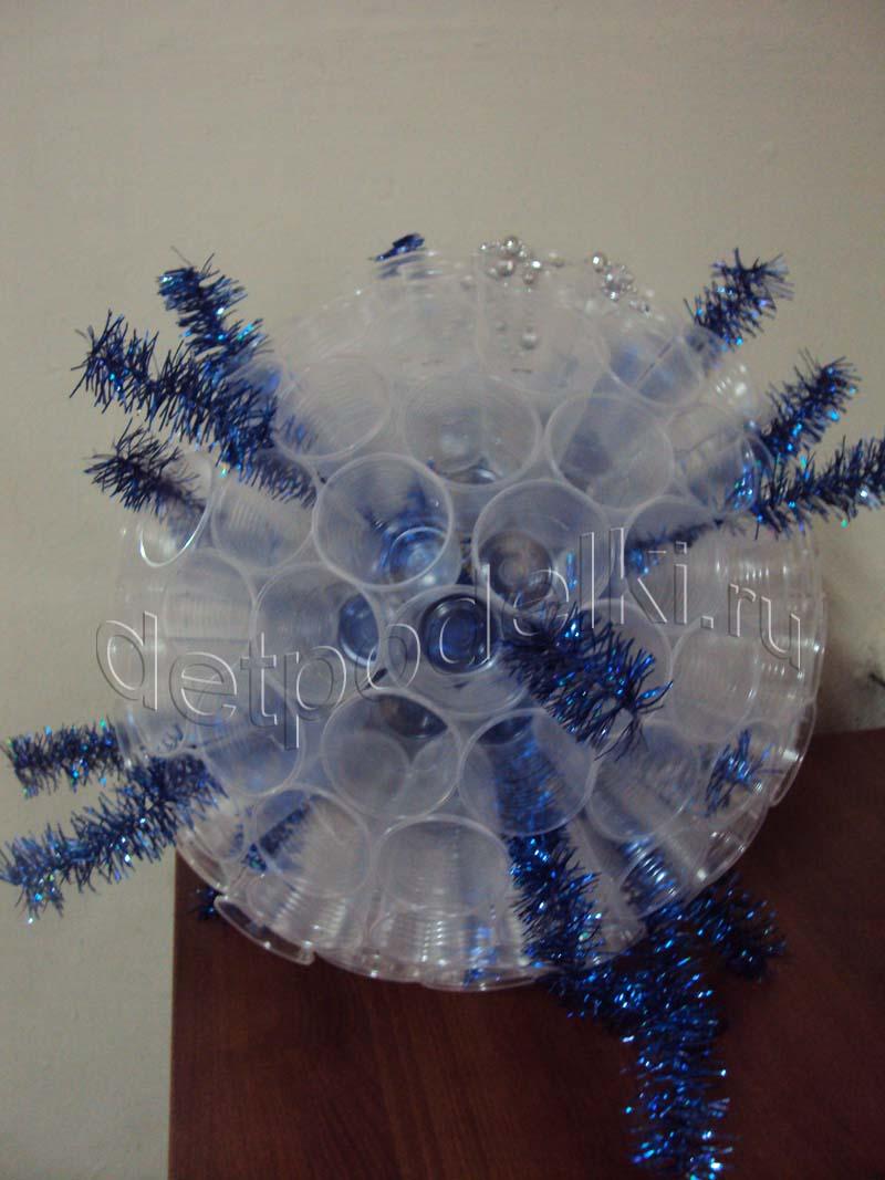 Мастер-классы по изготовлению новогодних ёлок своими руками из пластиковых стаканов и бутылок и гирлянды-шара