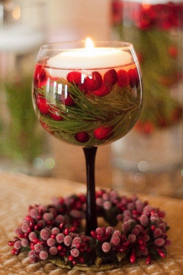 Новогодний подсвечник из бокала сделать самому своими руками