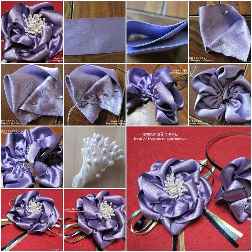 Цветы из лент ткани своими руками, мастер класс с фото примерами