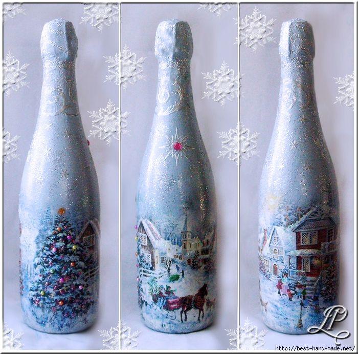 Новогодний декупаж бутылки шампанского: мастер-класс с фото | азбука декупажа