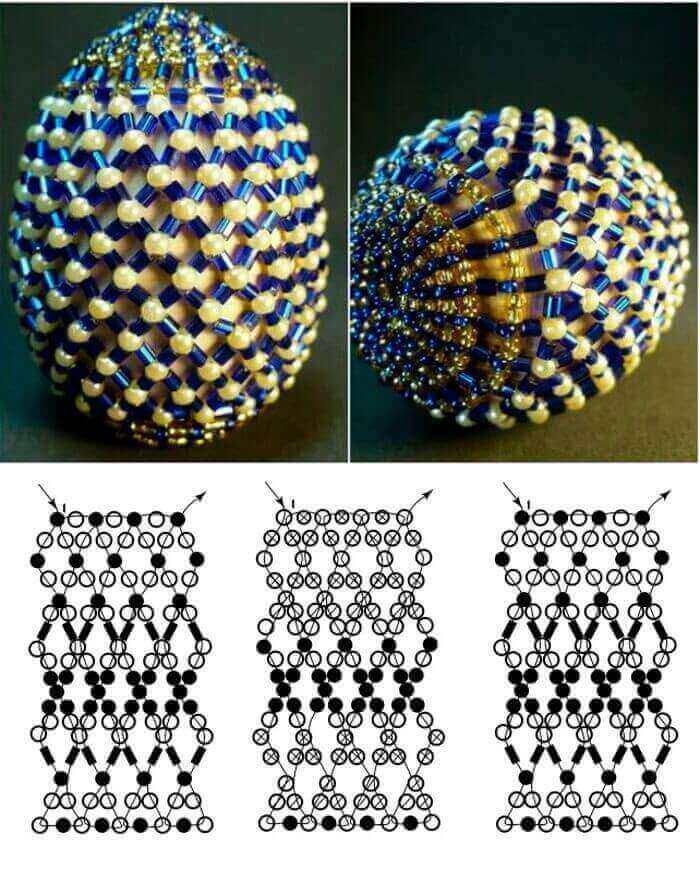 Схемы плетения пасхальных яиц из бисера