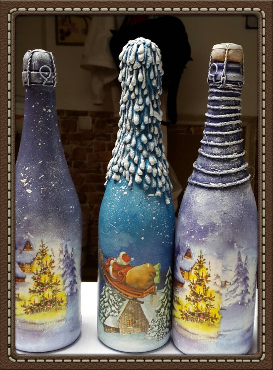 Декупаж новогодних бутылок шампанского своими руками для начинающих, мастер-класс, как сделать декупаж бутылки